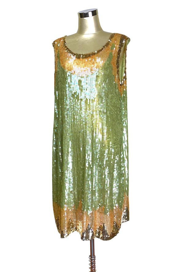 1920s Beaded Sequin Party Dress - Deco Shimmer - Nile Green Gold
