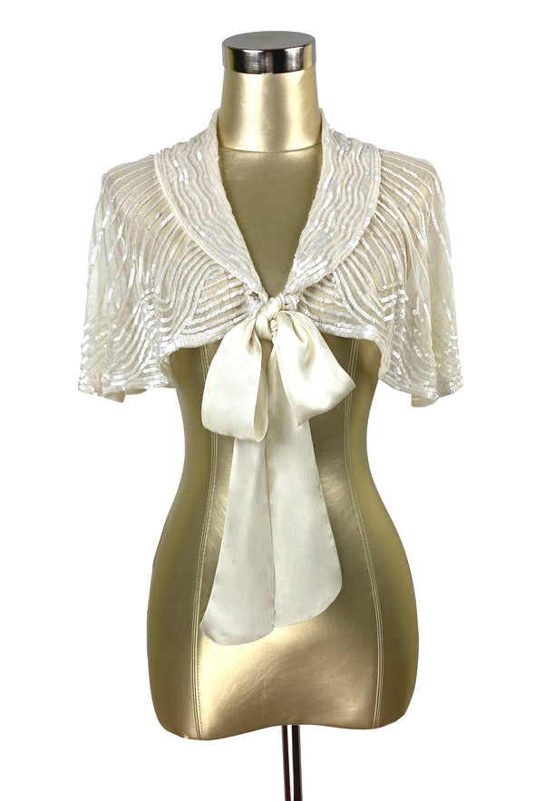 1920s Beaded Silk Bow Flapper Capelet - The Garbo - Ivory Pearl