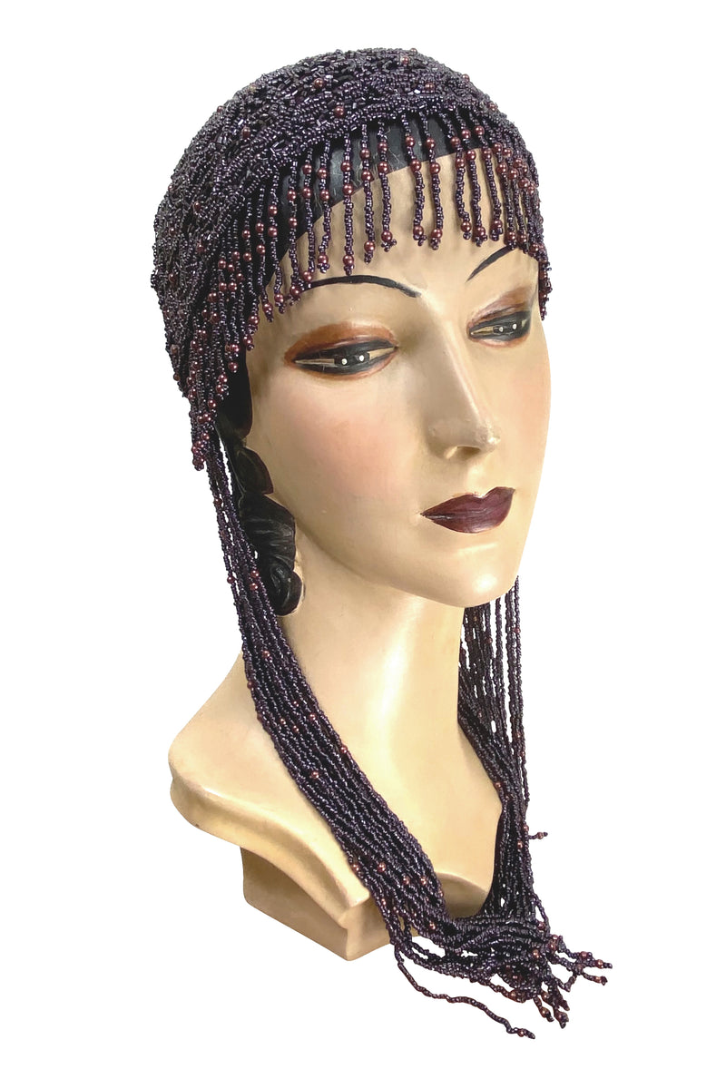 1920s Hand Beaded Gatsby Flapper Party Cap - Long Fringe - Deep Plum - The Deco Haus