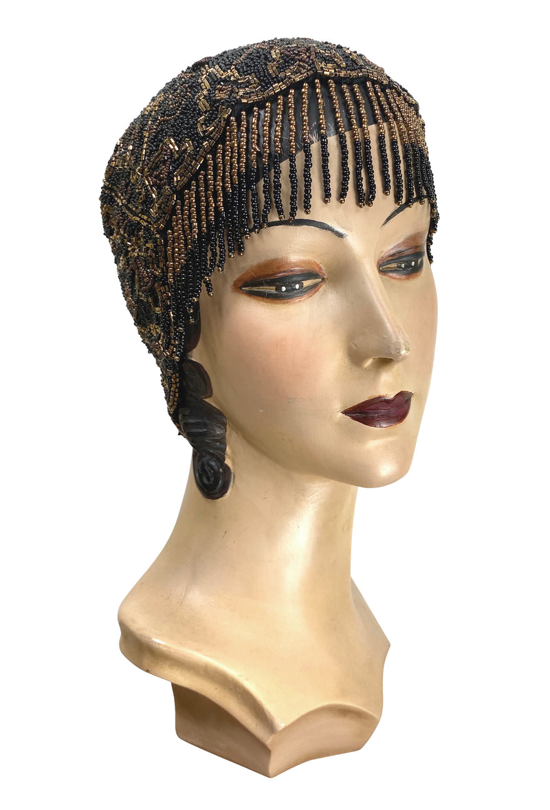 1920s Hand Beaded Gatsby Flapper Party Cap - Short Fringe - Black Copper - The Deco Haus