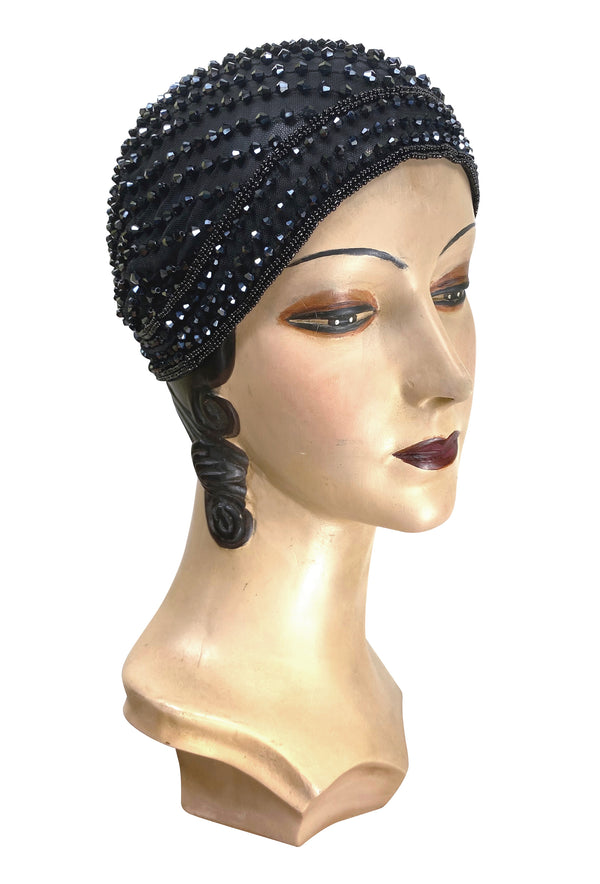 1920s Hand Beaded Gatsby Flapper Party Cap - The Garçonne - Black Jet