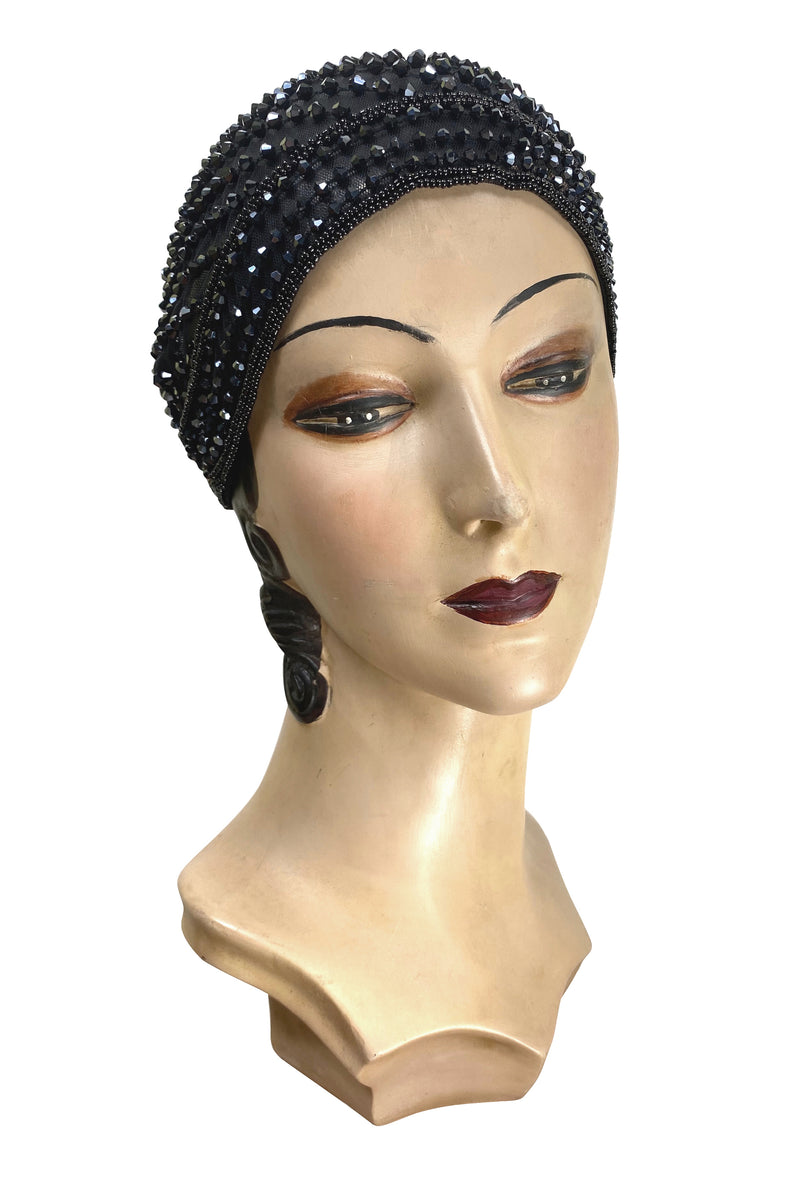1920s Hand Beaded Gatsby Flapper Party Cap - The Garçonne - Black Jet - The Deco Haus