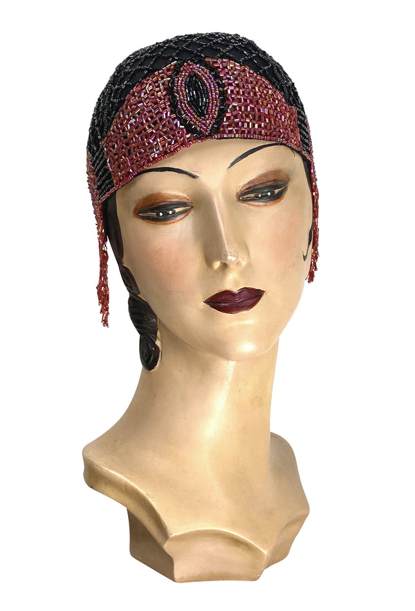 1920s Hand Beaded Gatsby Flapper Party Cap - The Palais - Black Cherry