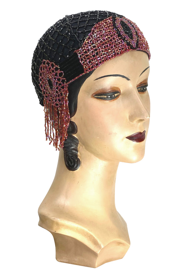1920s Hand Beaded Gatsby Flapper Party Cap - The Palais - Black Cherry - The Deco Haus