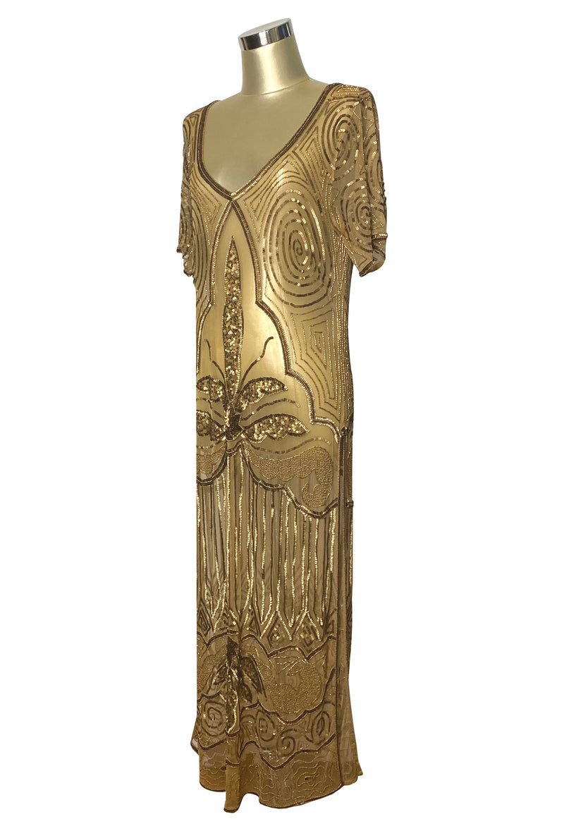 1920s Long Panel Downton Abbey Gown - The Majestic - Gold
