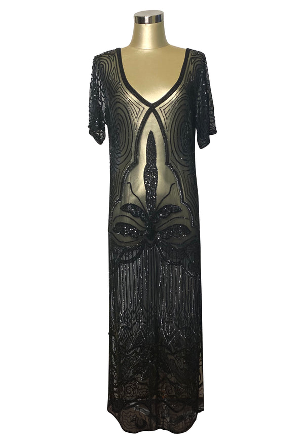 1920s Long Panel Downton Abbey Gown - The Majestic - Kohl Black