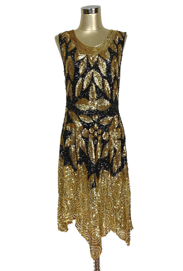 1920s Sequin Art Deco Gatsby Party Dress - The Sophisticate - Black Gold