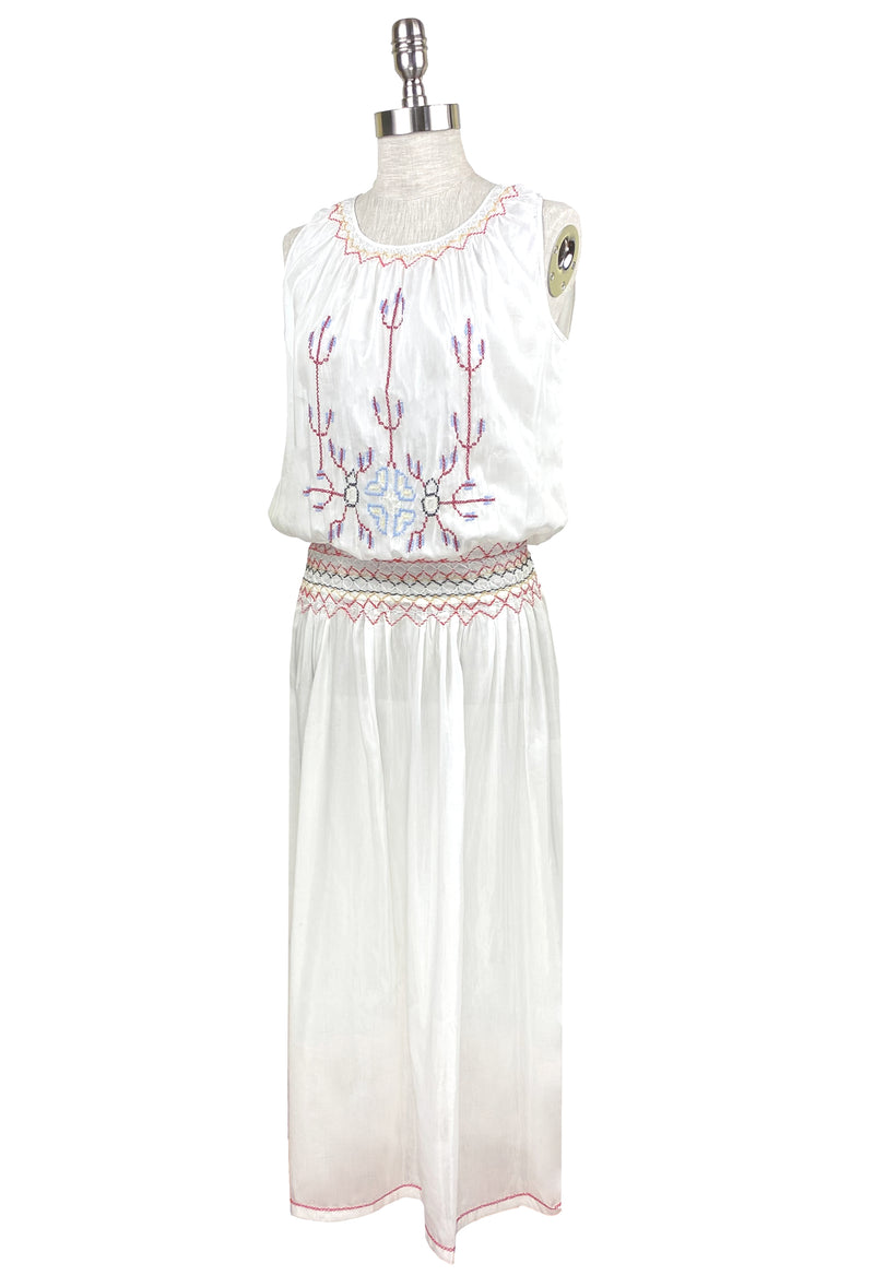 1920's Vintage Embroidered Silk Voile Blouson Liberté Dress  - White