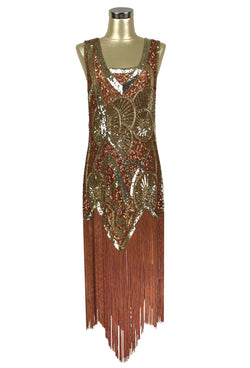 1920s Vintage Flapper Fringe Deco Gown - The Kismet - Mahogany Brown - The Deco Haus