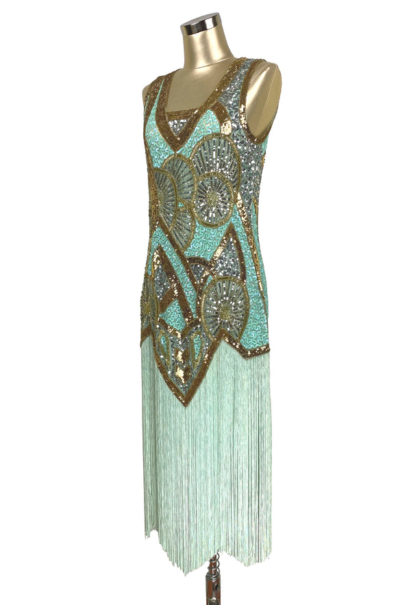 1920s Vintage Flapper Fringe Deco Gown - The Kismet - Pistachio Green - The Deco Haus