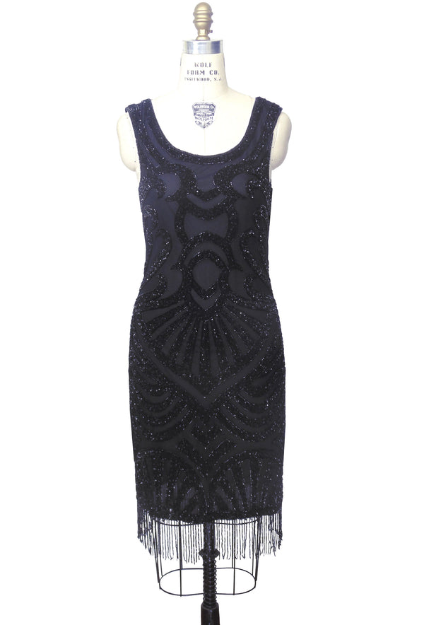 Modern 1920's Gatsby Party Cocktail - Posh Dress - Black on Black - The Deco Haus