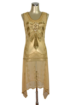 1920s Art Deco Egyptian Style Beaded Mesh Handkerchief Gown - The Cleopatra - Gold - The Deco Haus