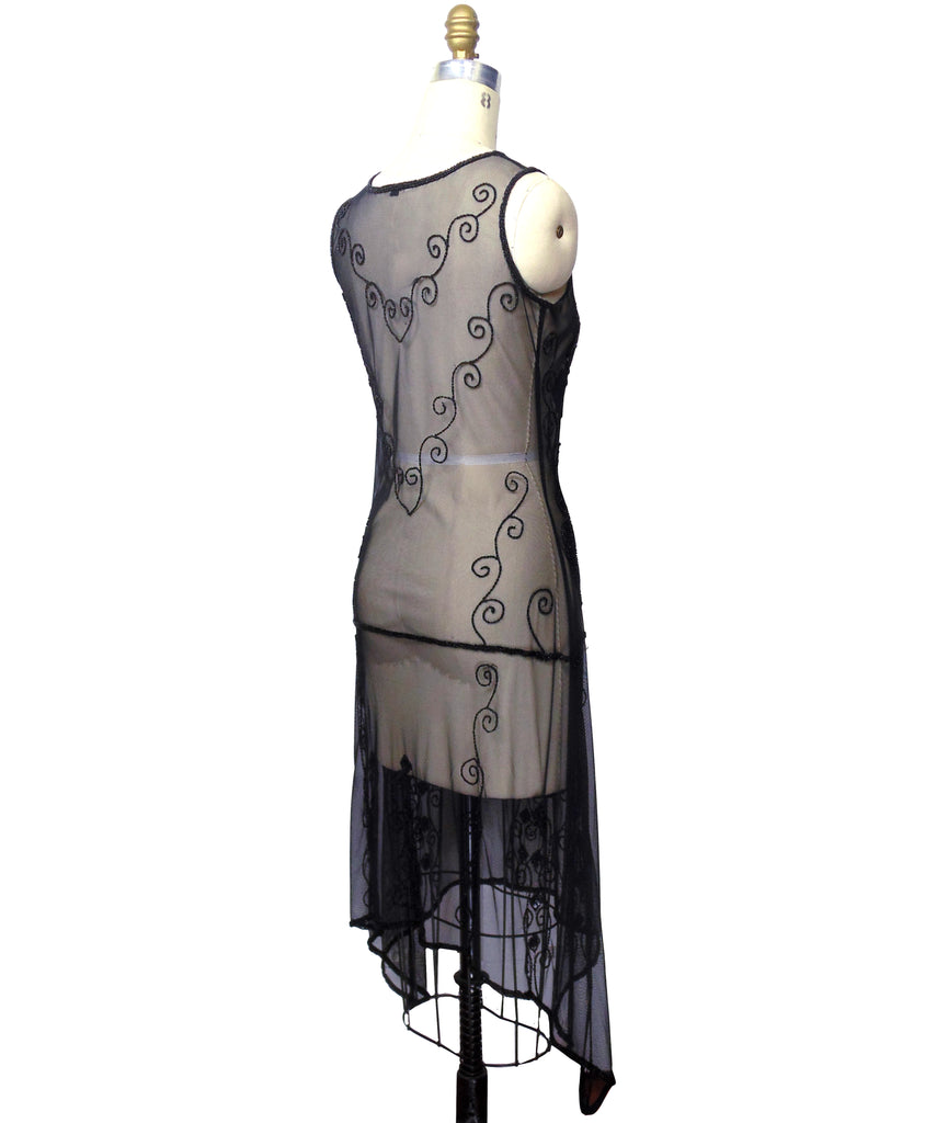 1920s Art Deco Egyptian Style Beaded Mesh Handkerchief Gown - The Cleopatra - Kohl Black