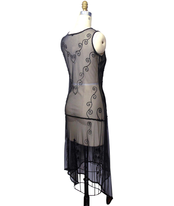1920s Art Deco Egyptian Style Beaded Mesh Handkerchief Gown - The Cleopatra - Kohl Black - The Deco Haus