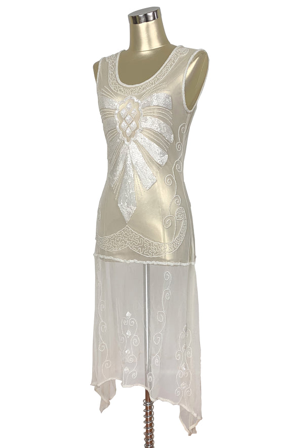 1920s Art Deco Egyptian Style Beaded Mesh Handkerchief Gown - The Cleopatra - Mother of Pearl Ivory - The Deco Haus