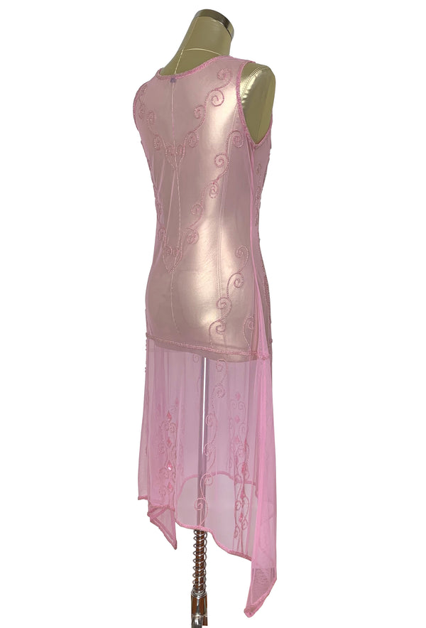 1920s Art Deco Egyptian Style Beaded Mesh Handkerchief Gown - The Cleopatra - Rose Pink - The Deco Haus
