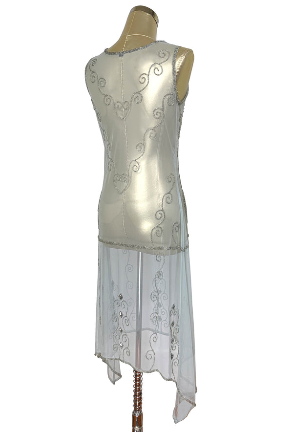 1920s Art Deco Egyptian Style Beaded Mesh Handkerchief Gown - The Cleopatra - Silver - The Deco Haus