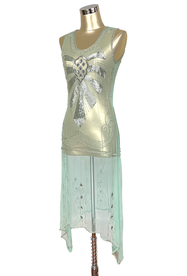 1920s Art Deco Egyptian Style Beaded Mesh Handkerchief Gown - The Cleopatra - Silver on Mint Green - The Deco Haus