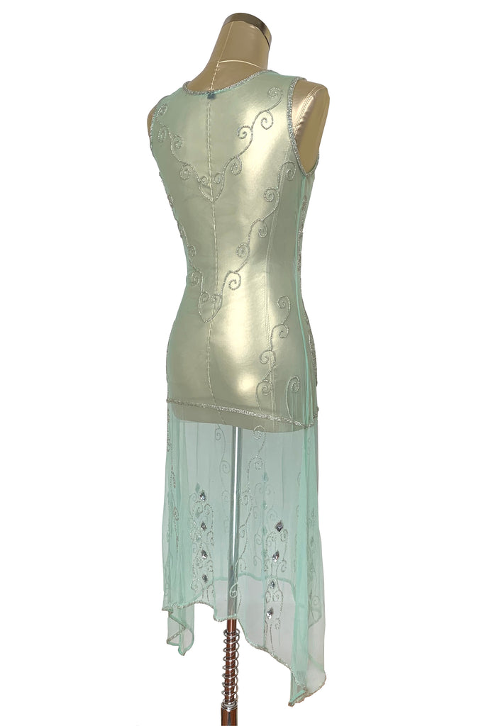 1920s Art Deco Egyptian Style Beaded Mesh Handkerchief Gown - The Cleopatra - Silver on Mint Green