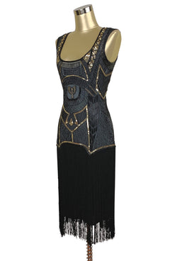 1920s Art Deco Flapper Fringe Party Dress - The Egyptian Revival - The Deco Haus