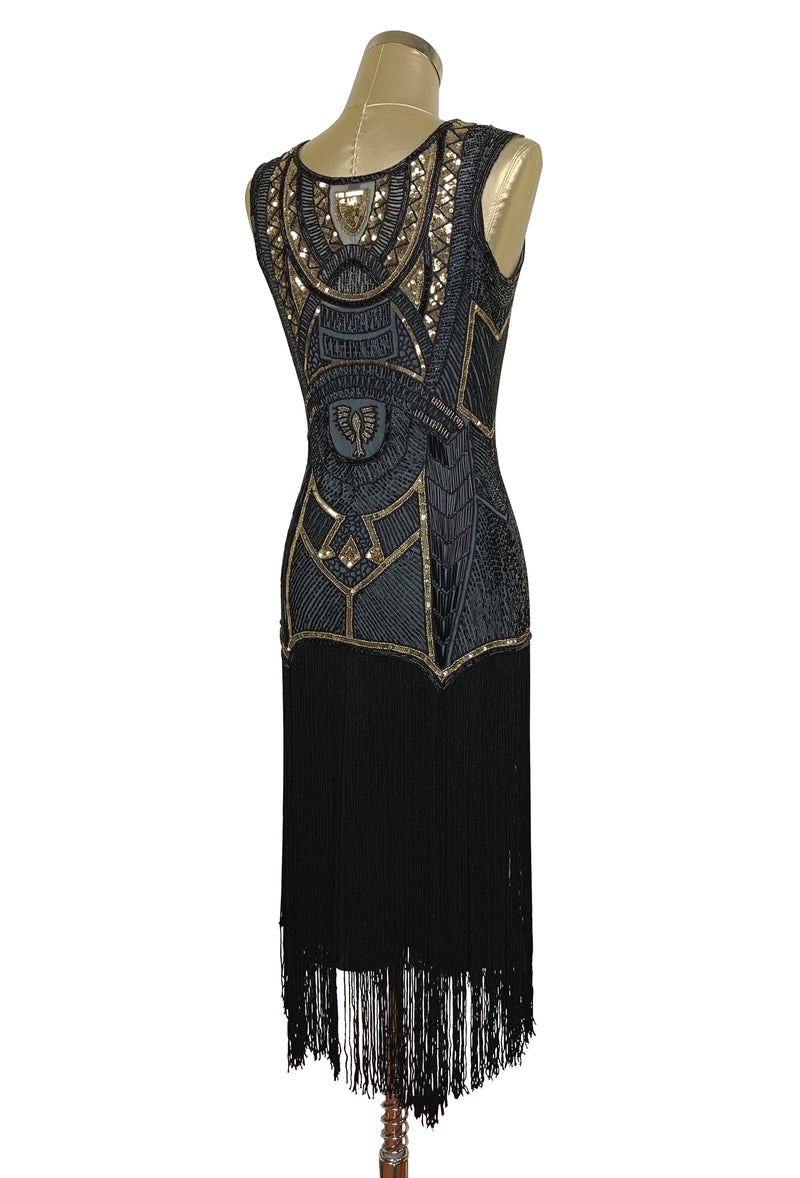 1920s Art Deco Flapper Fringe Party Dress - The Egyptian Revival