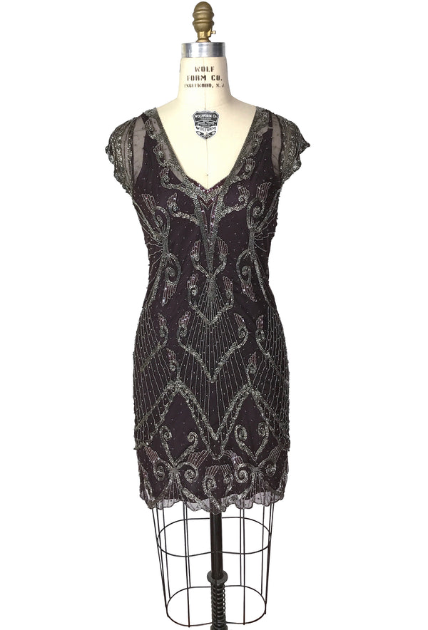 1920s Beaded Flapper Fringe Party Cocktail Dress- The Savoy - Dark Plum