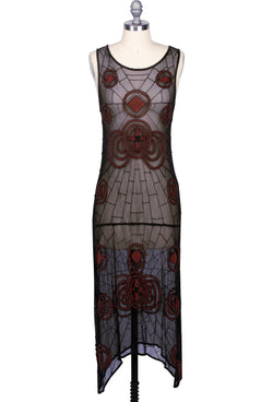 1920s Beaded Mesh Gatsby Panel Flapper Gown - The Spider - Black Red - The Deco Haus