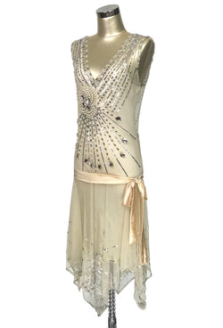 1920s Czech Crystal Gatsby Handkerchief Deco Dress - The Socialite - Buttercream Silver