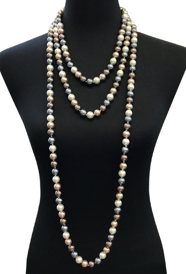 1920s Flapper Endless Pearls Party Necklace - 12mm - Multi Metallic