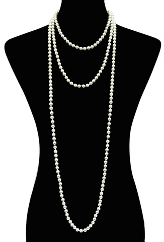 1920s Flapper Endless Pearls Party Necklace - 8mm - Cream - The Deco Haus