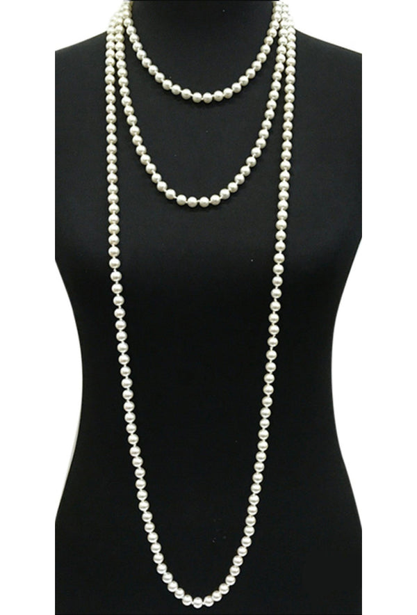 1920s Flapper Endless Pearls Party Necklace - 12mm - White - The Deco Haus