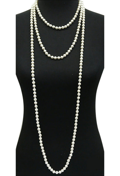 1920s Flapper Endless Pearls Party Necklace - Cream