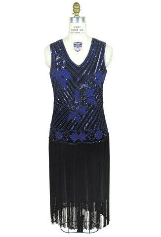 1920s Style Flapper Fringe Party Dress - The Tango - Black Iridescent