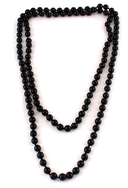 1920s Flapper Pearl Party Necklace - Black - The Deco Haus