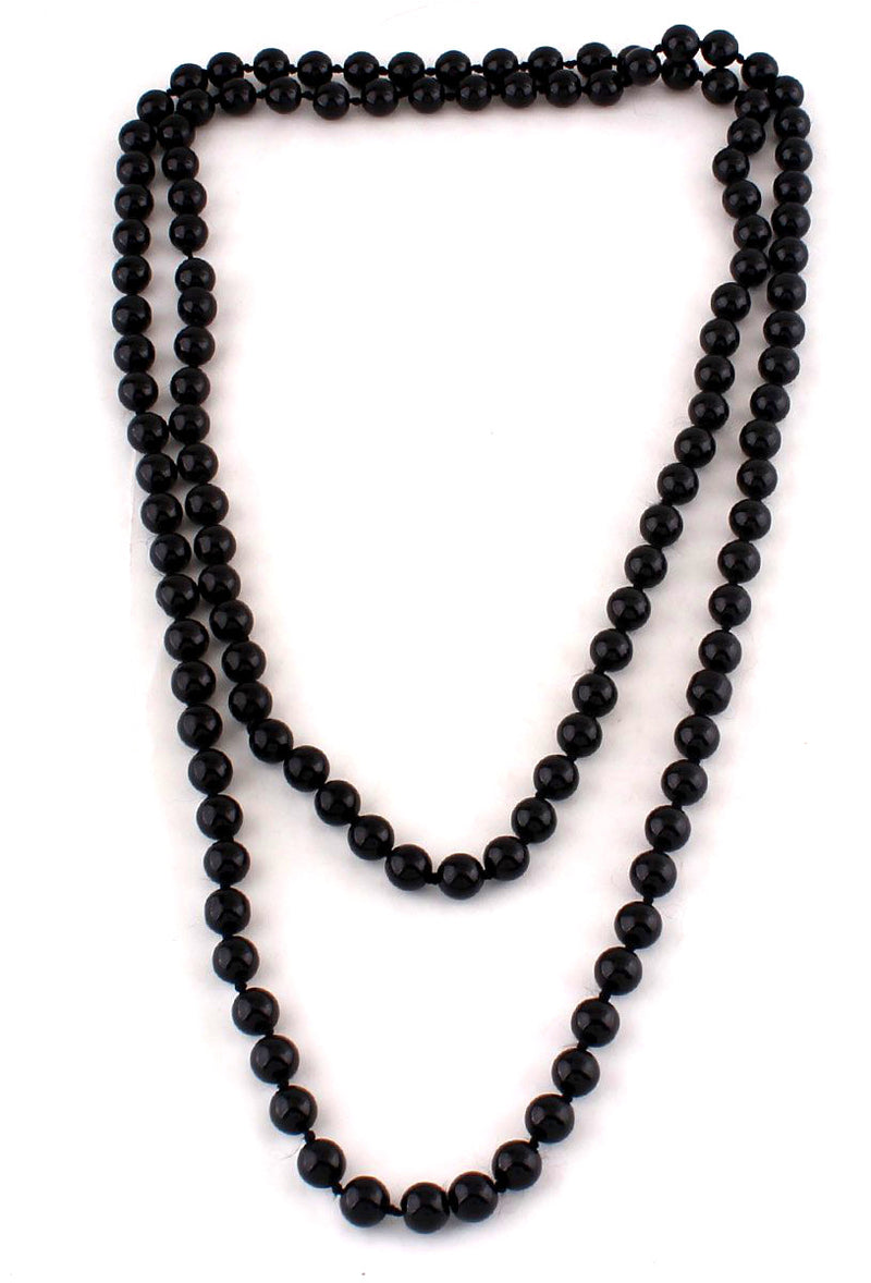 1920s Flapper Pearl Party Necklace - Black