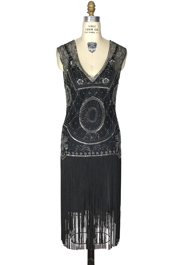 1920s Gatsby Flapper Fringe Party Dress - The Lulu - Pewter on Black - The Deco Haus