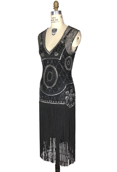 1920s Gatsby Flapper Fringe Party Dress - The Lulu - Pewter on Black