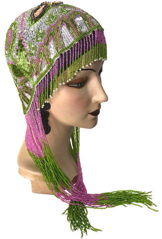 1920s Hand Beaded Gatsby Flapper Party Cap - Long Fringe - Deco Garden