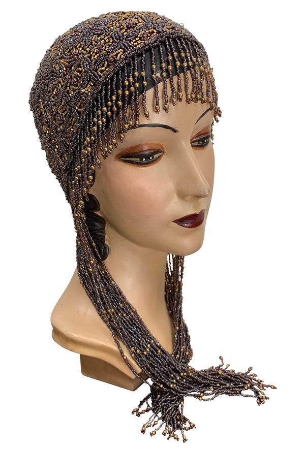 1920s Hand Beaded Gatsby Flapper Party Cap - Long Fringe - Gold & Cocoa - The Deco Haus