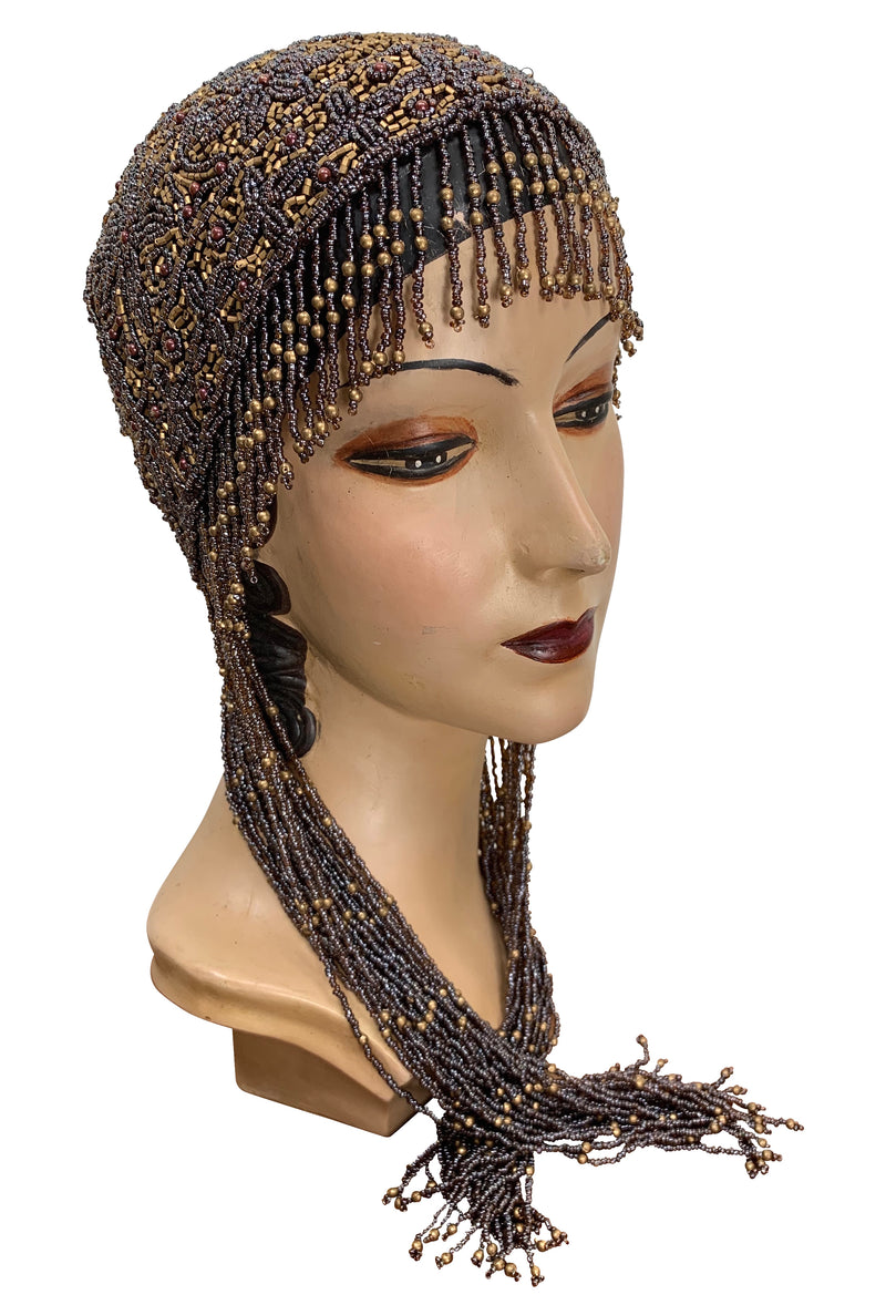 1920s Hand Beaded Gatsby Flapper Party Cap - Long Fringe - Gold & Cocoa