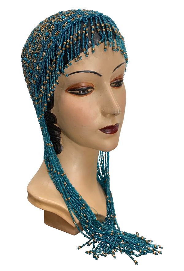 1920s Hand Beaded Gatsby Flapper Party Cap - Long Fringe - Gold & Turquoise - The Deco Haus
