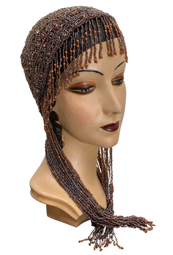 1920s Hand Beaded Gatsby Flapper Party Cap - Long Fringe - Rootbeer