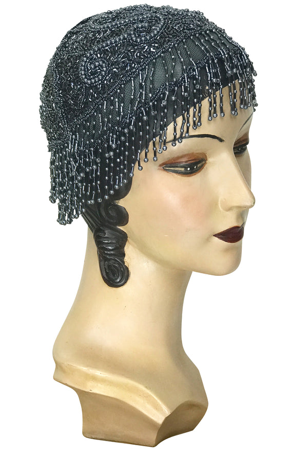 1920s Hand Beaded Gatsby Flapper Party Cap - Short Fringe - Gunmetal Grey - The Deco Haus