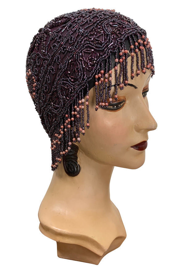 1920s Hand Beaded Gatsby Flapper Party Cap - Short Fringe - Deep Plum