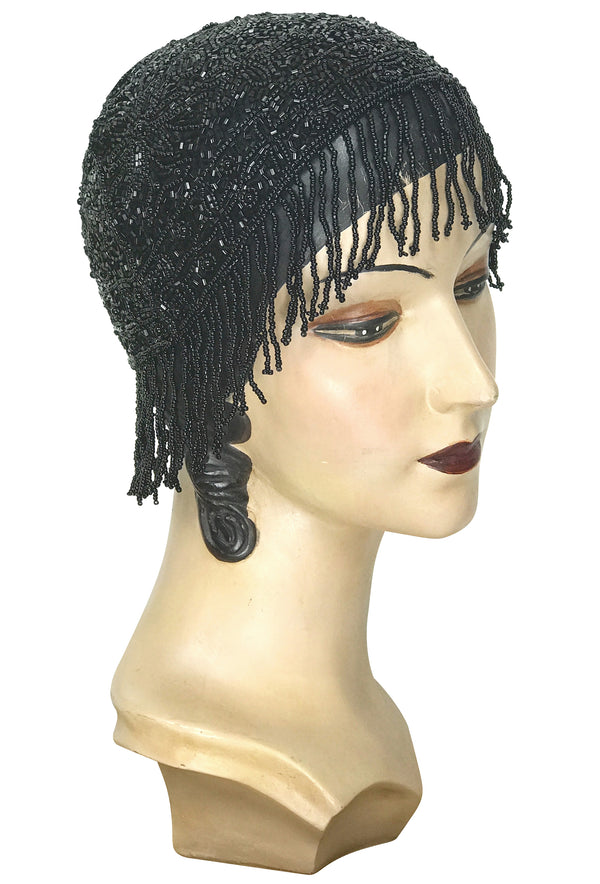 1920s Hand Beaded Gatsby Flapper Party Cap - Short Fringe - Black Jet - The Deco Haus