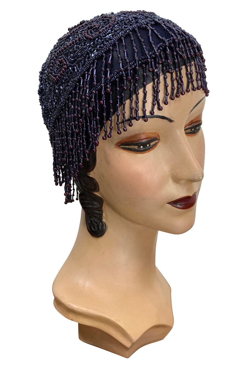 1920s Hand Beaded Gatsby Flapper Party Cap - Short Fringe - Midnight Blue - The Deco Haus