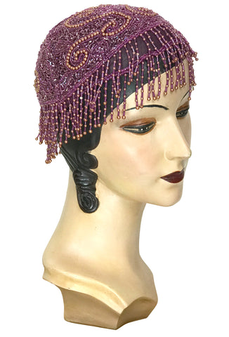 1920s Hand Beaded Gatsby Flapper Party Cap - Short Fringe - Raspberry