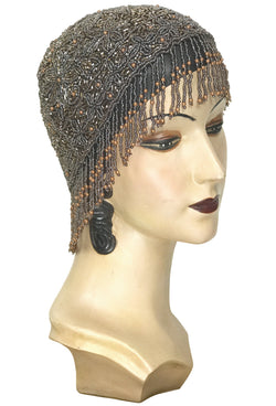 1920s Hand Beaded Gatsby Flapper Party Cap - Short Fringe - Rootbeer Brown - The Deco Haus
