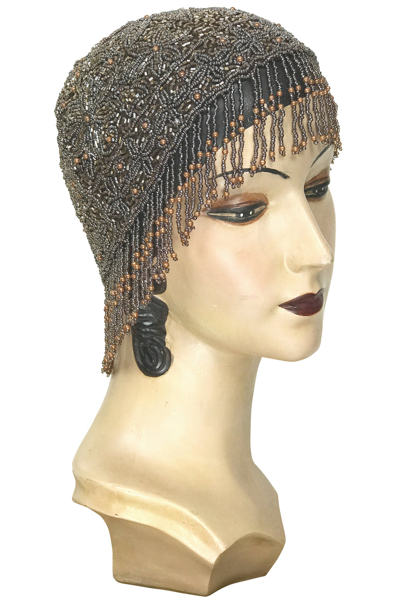 1920s Hand Beaded Gatsby Flapper Party Cap - Short Fringe - Rootbeer Brown