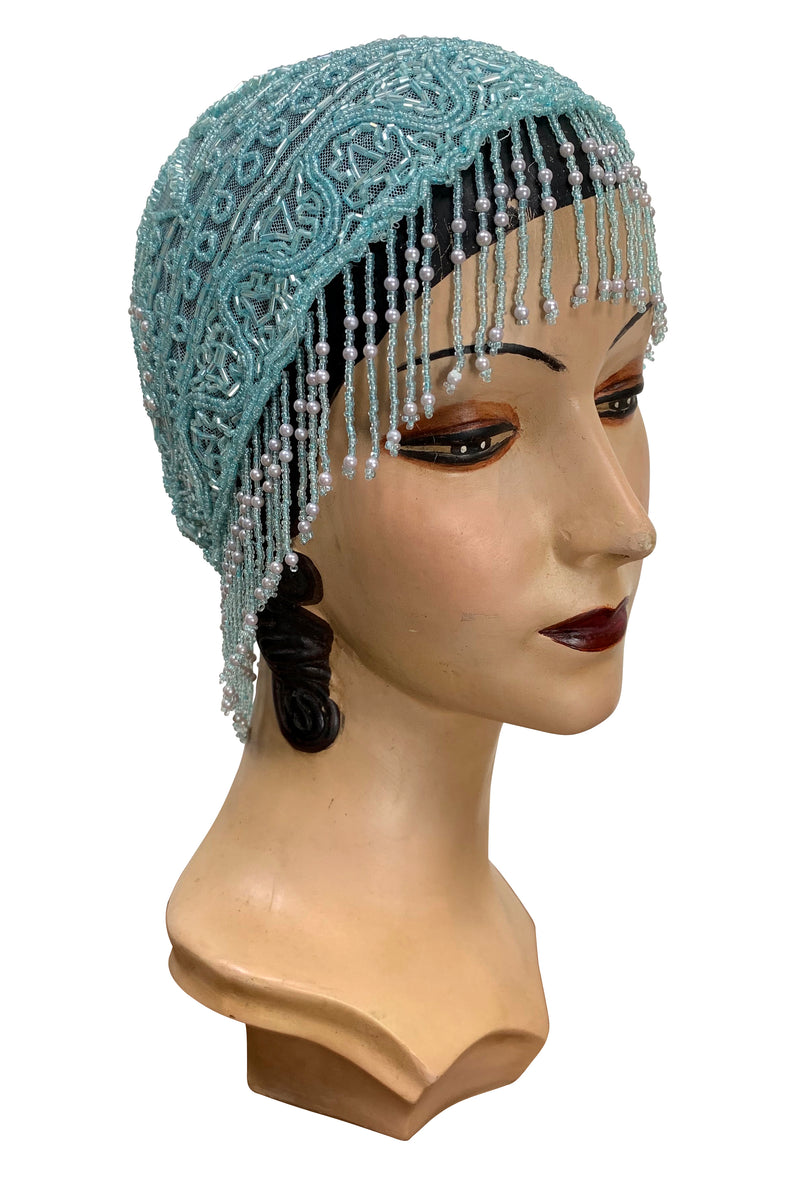 1920s Hand Beaded Gatsby Flapper Party Cap - Short Fringe - Sky Blue - The Deco Haus